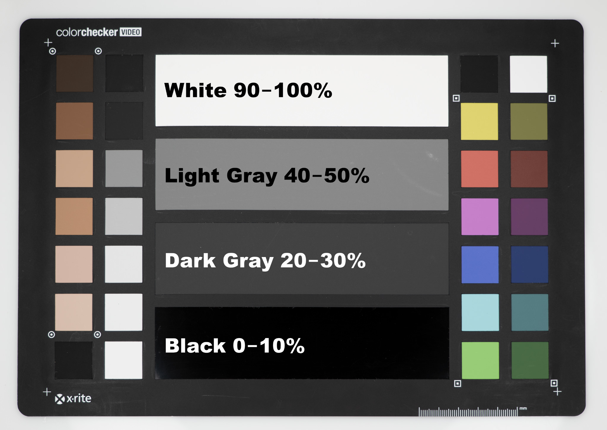 X-Rite Color Checker Video with IRE and % percentage levels. White = 90-100% or 90-100 IRE, Light Grey Gray = 40-50% or 40-50 IRE, Dark Grey Gray = 20-30% or 20-30 IRE, Black = 0-10% or 0-10 IRE