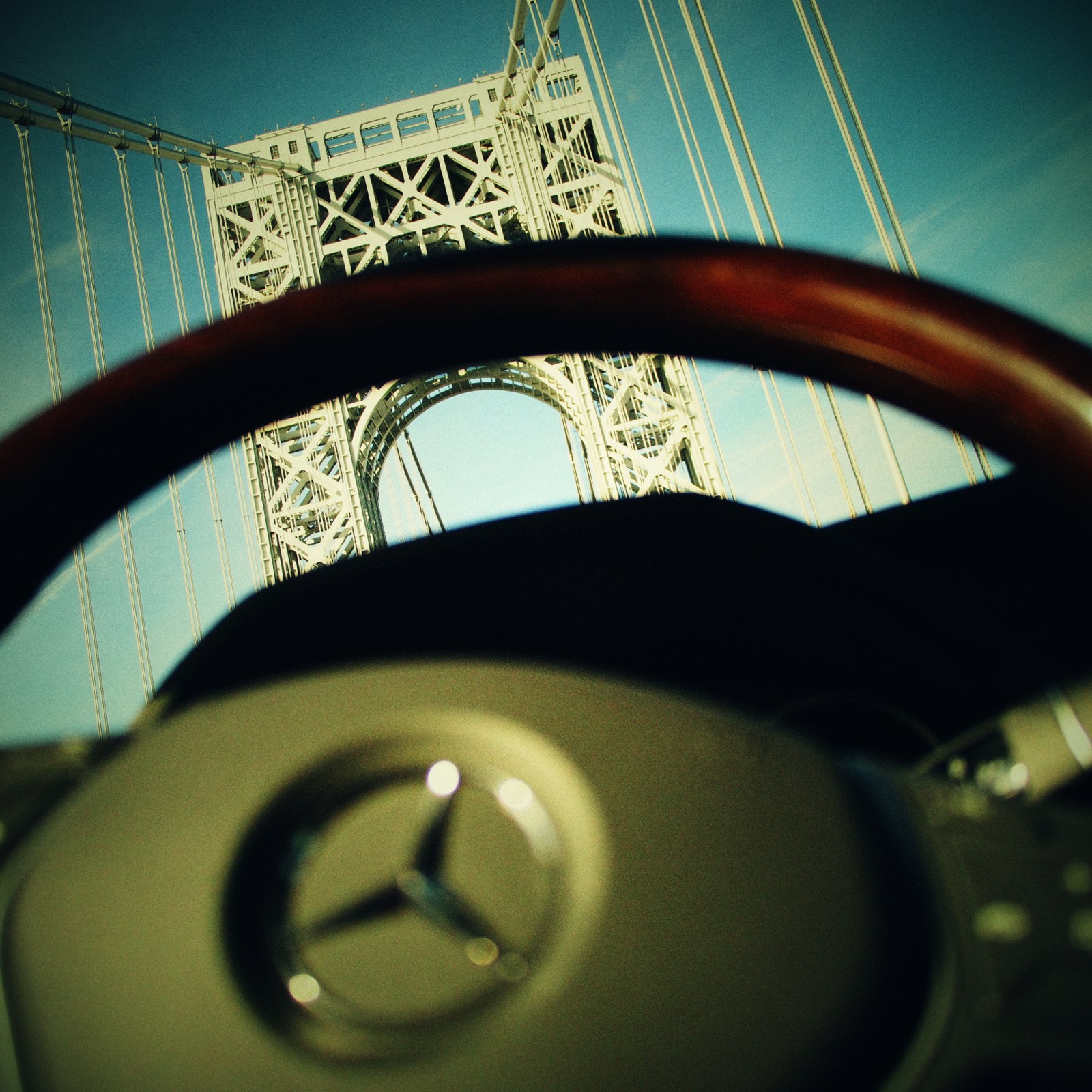 Mercedes-Benz photo in New York going over the George Washington bridge, shot on a Micro four thirds camera