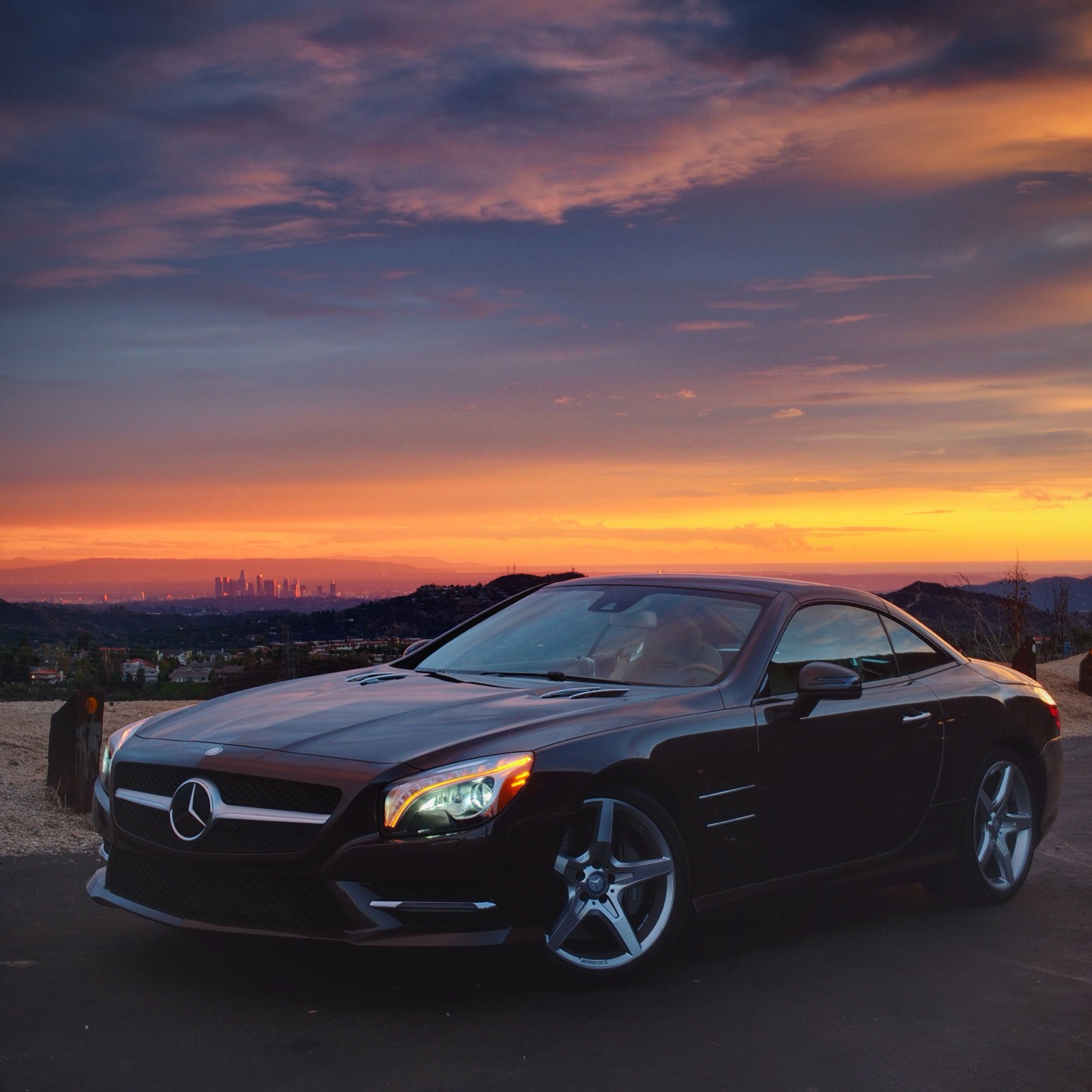Mercedes-Benz photo with the Los Angeles skyline, shot on a Micro four thirds camera