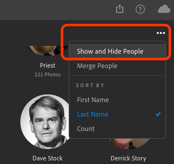 "Click the three dots to reveal the ""Show and Hide People"" view in Lightroom CC"